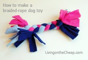 DIY dog pull toy completed project