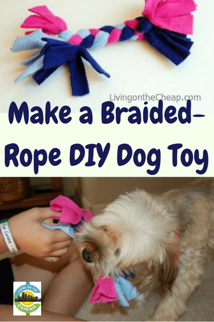Using fleece fabric left over from winter projects, we made several braided-rope dog pull toys. This was the perfect summer craft for kids. The pull-toys were simple to make (the most difficult part was taking the pictures), cost us nothing, kept the kids engaged and best of all? Our dog loves them. #kidscrafts #pettoys #savemoney