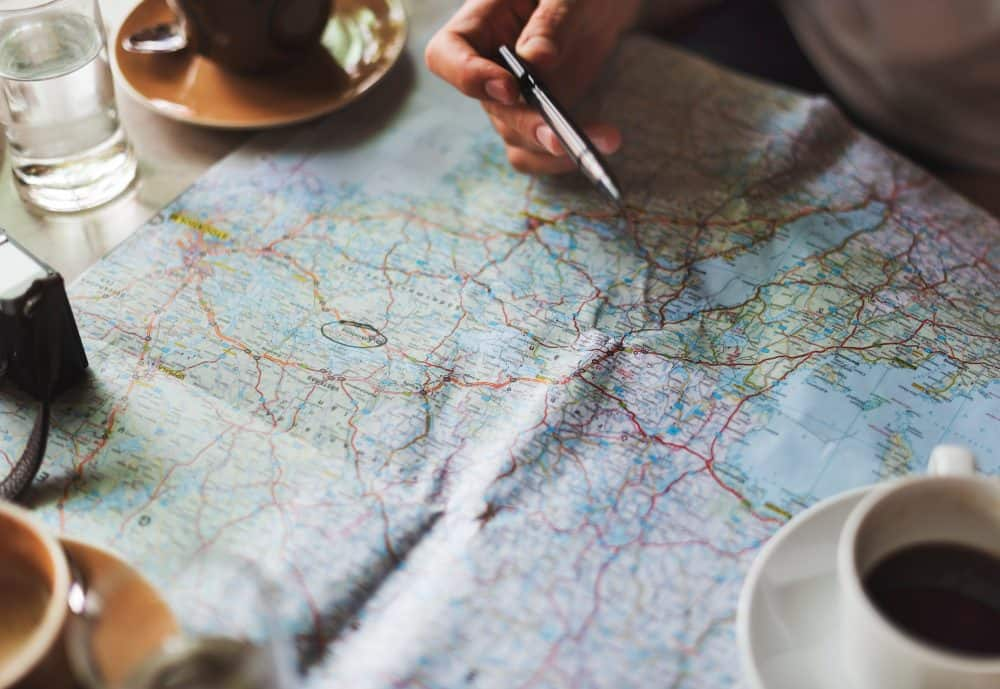 Map for planning road trip route