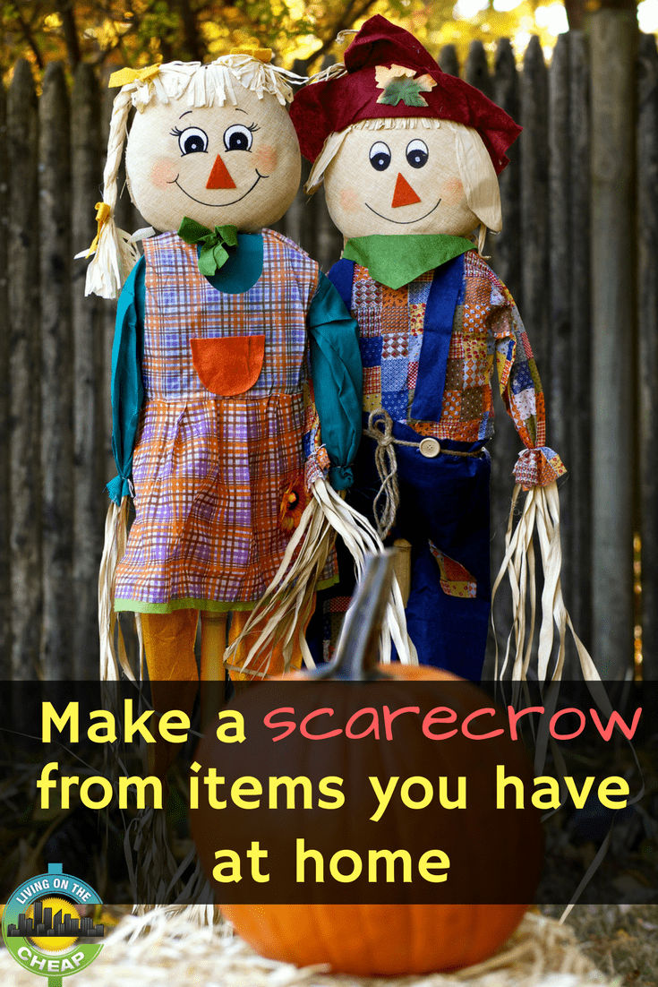For less than $20 you can purchase a ready-made scarecrow-on-a-stick from a craft store. Or, you can make your own one-of-a-kind scarecrow mostly using materials you have at home. Read this post to learn more! #diy #scarecrow #falldecor