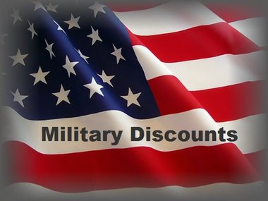 """American flag with words """"military discount"""""""