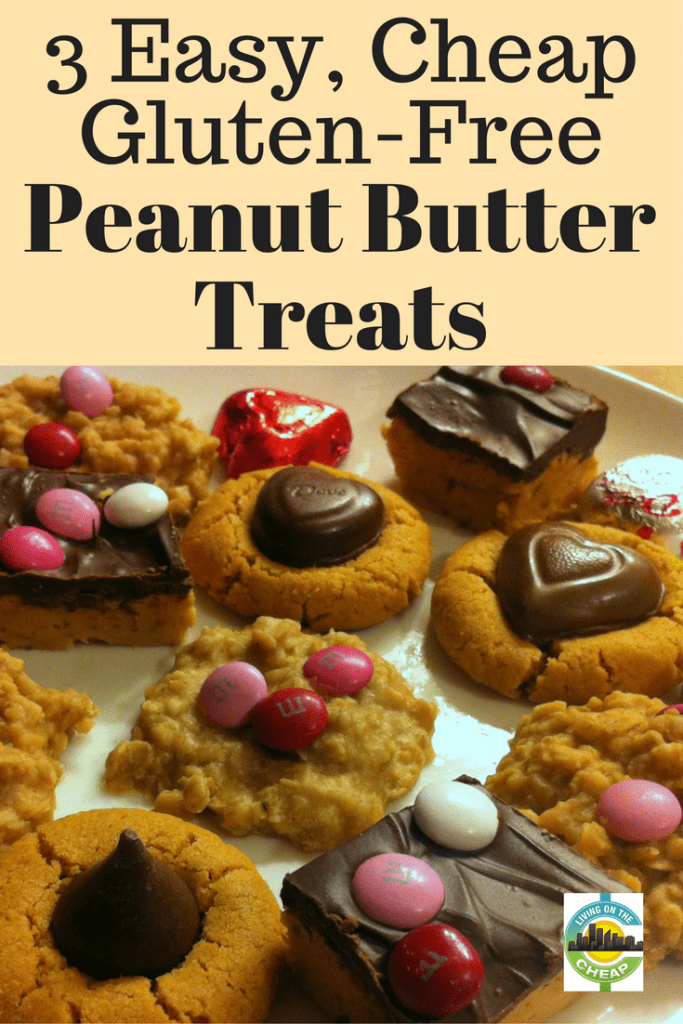 Gluten-free baking doesn't have to require specialty flours or unusual and expensive ingredients. These three peanut-butter treat recipes are made with simple ingredients that most people already have in the kitchen. They're  naturally gluten-free, so those with or without gluten allergies will enjoy them. Just keep them away from nut-allergy suffers. #glutenfree #peanutbutter #dessert