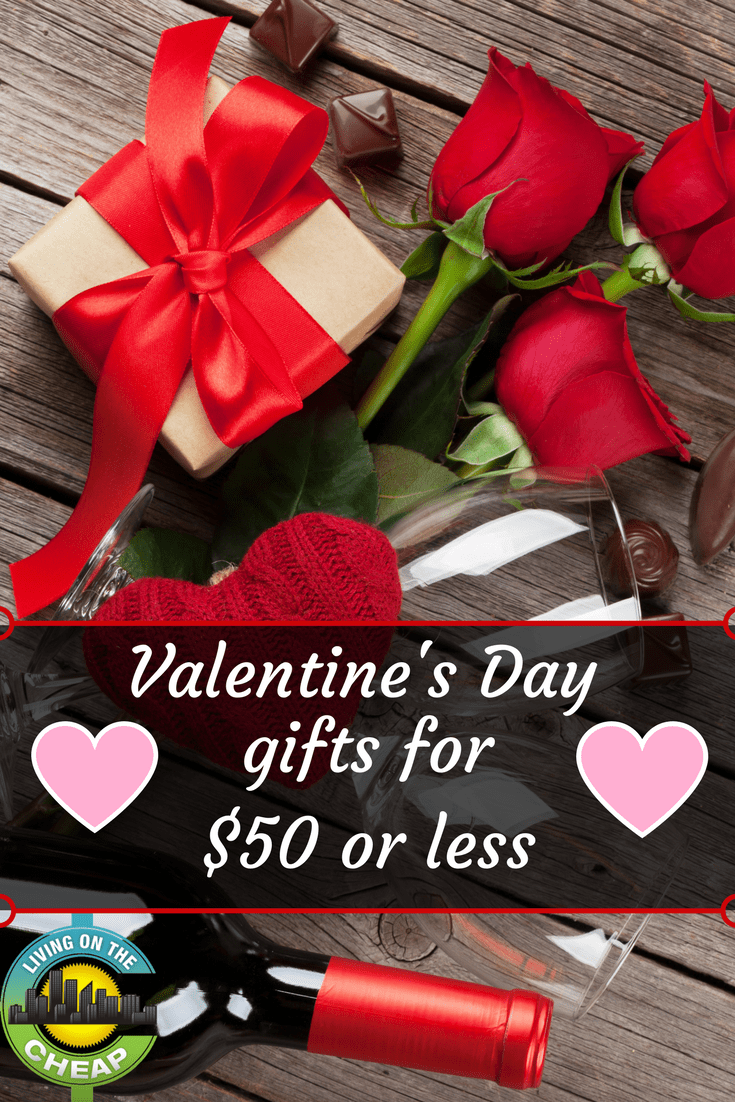 Wanting to give a Valentine's gift, but short on money? Check out these Valentine's Day gifts that ring up for $50 or less! #valentinesday #giftideas #valentinesdaygifts