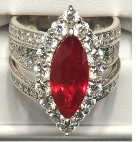 This 5-karat Burmese ruby is surrounded by 2.3 karats of diamonds. Estimated auction price was $20,000. The ring sold for $16,750.