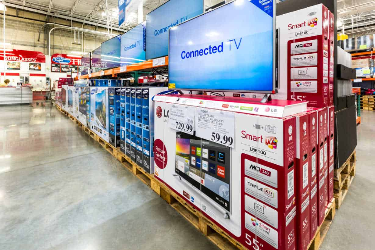 A large aisle in the Costco electronics department