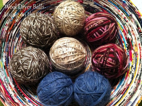 diy homemade felted wool dryer balls in a basket