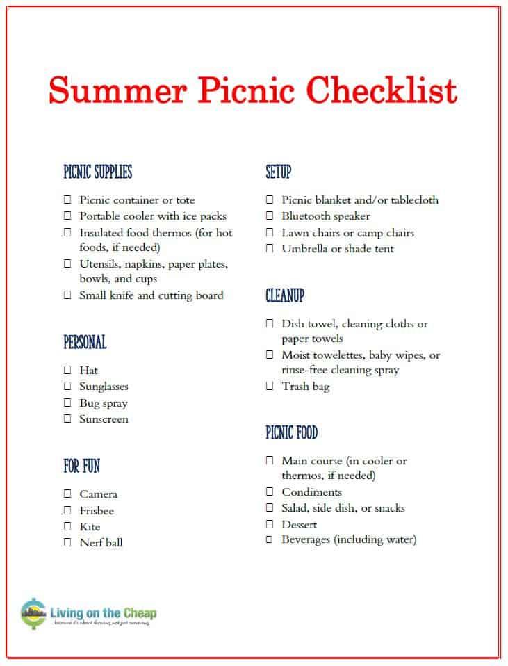 summer picnic checklist printable