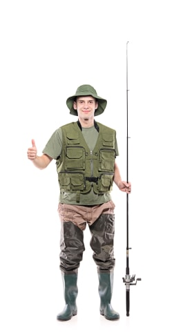 a9209aa43c Wading boots and a tack vest lend a realistic vibe to this fisherman look.  Add