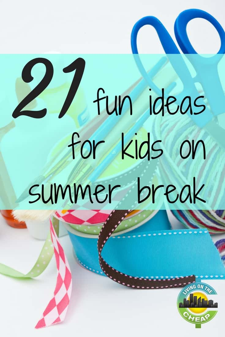 """Summer break is a term that excites students across the country but also can instill dread in the minds of the parents of school-age children everywhere. Days or weeks in a row with no school. What can you possibly do to prevent hearing """"I'm bored"""" over and over again? Here are simple crafts, fun games and yummy recipes that your kiddos can do to have fun and keep busy over school vacation. #summer #summervacation #kidsactivities #kids #schoolbreak"""