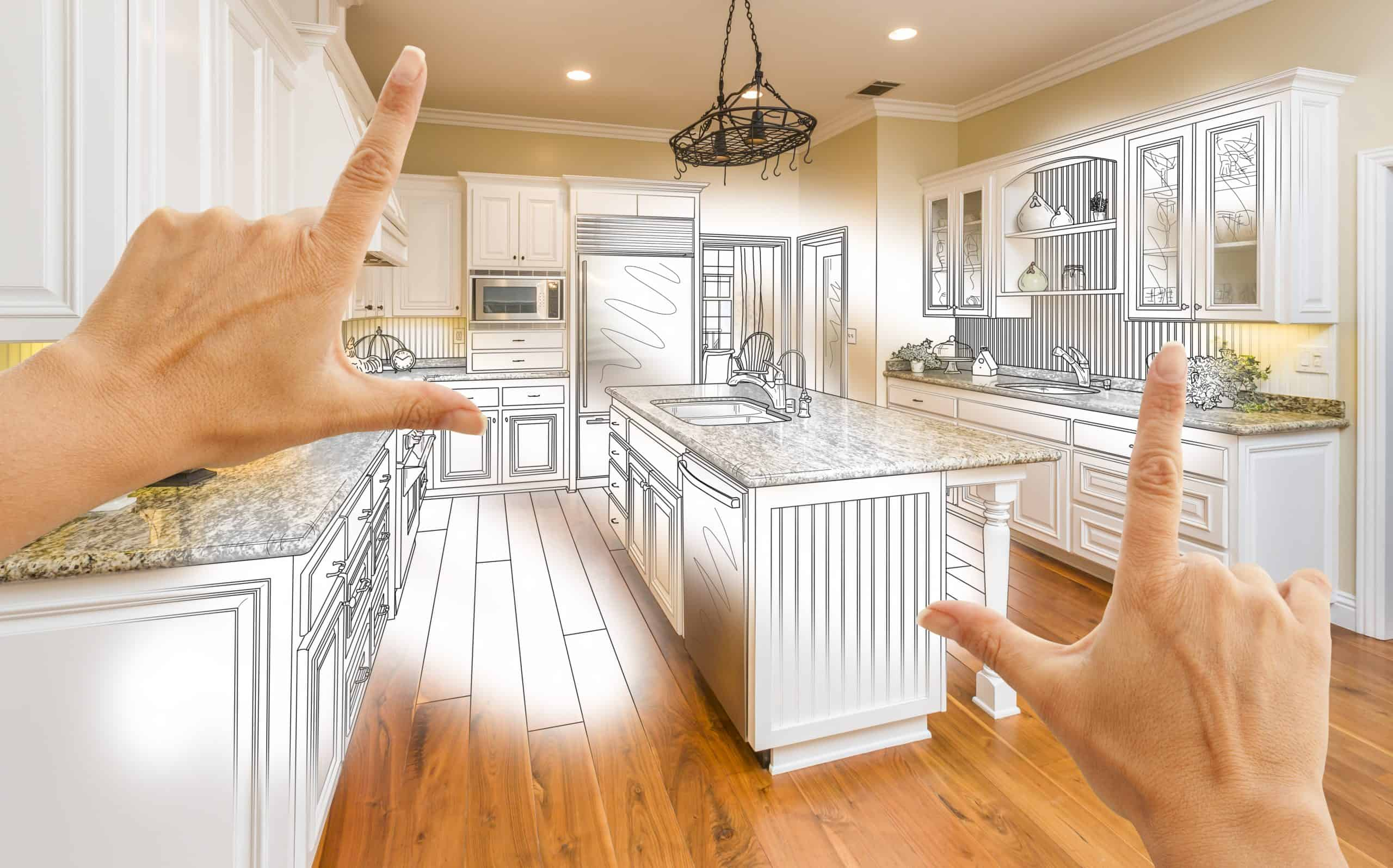 Remodel kitchen for less - Female Hands Framing Custom Kitchen Design Drawing and Photo Combination.