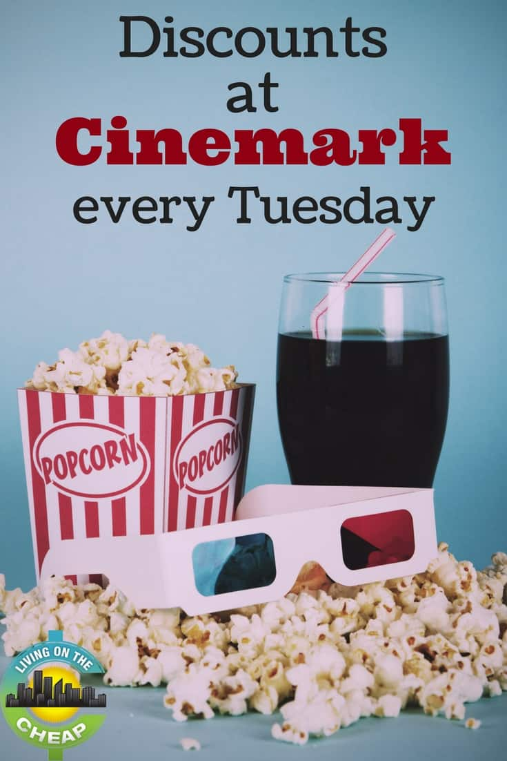 If you're a movie lover on a budget, mark your calendar for Tuesdays. Cinemark offers its weekly Discount Day every Tuesday at participating locations. Ticket prices range from $1 to $5.75, depending on the location. (There is an upcharge for 3-D films.) #moneysavingtips #savingmoney #frugalentertainment