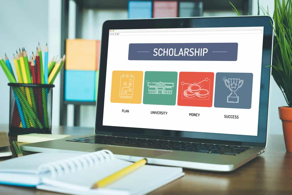 computer screen with scholarship home page