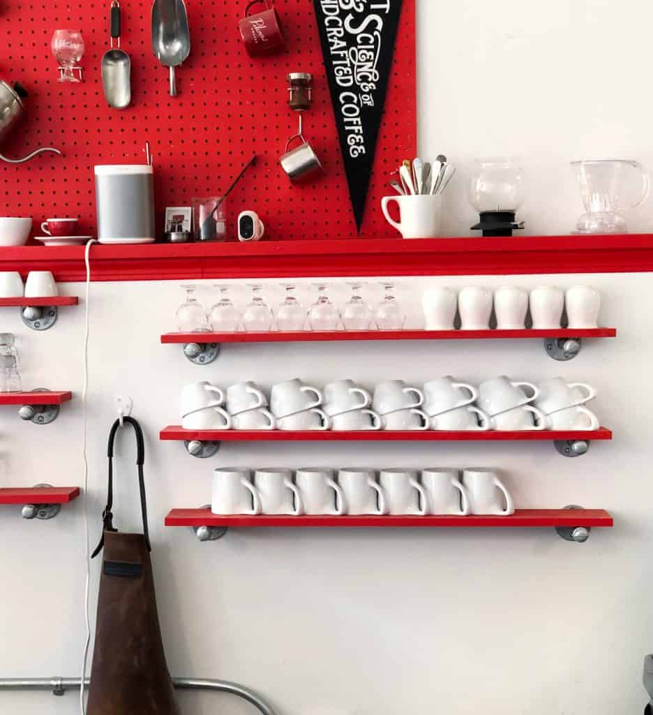 kitchen pegboard painted red