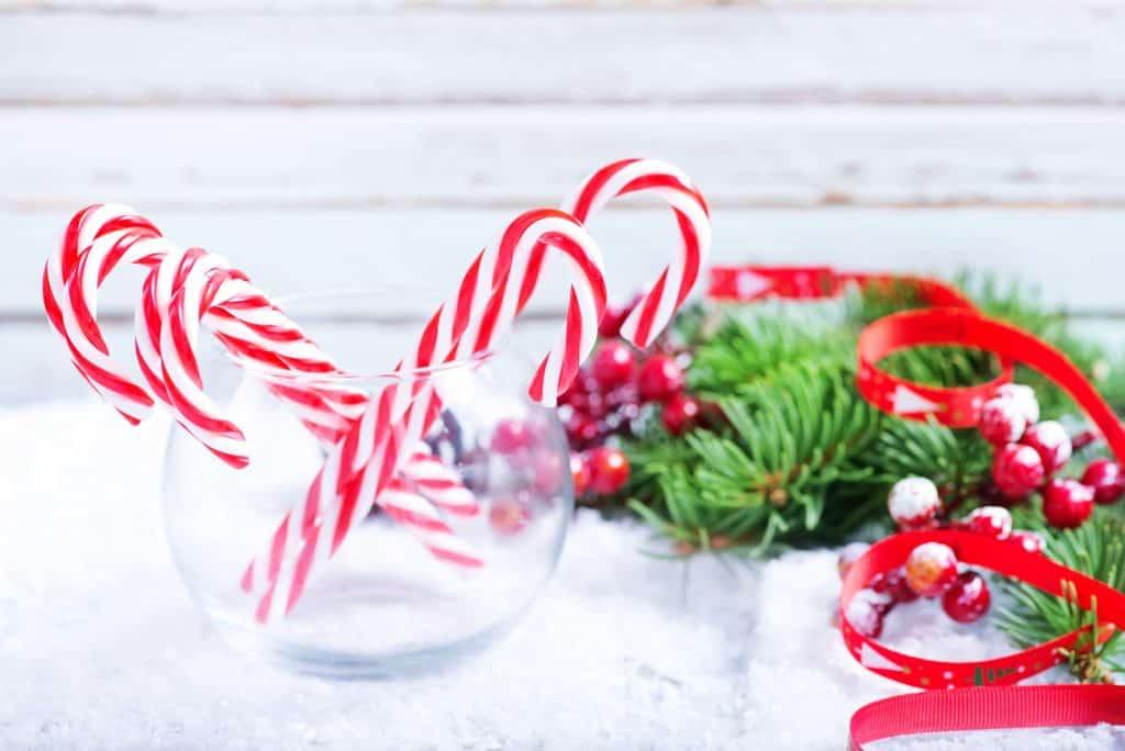 candy cane vase christmas decoratoin