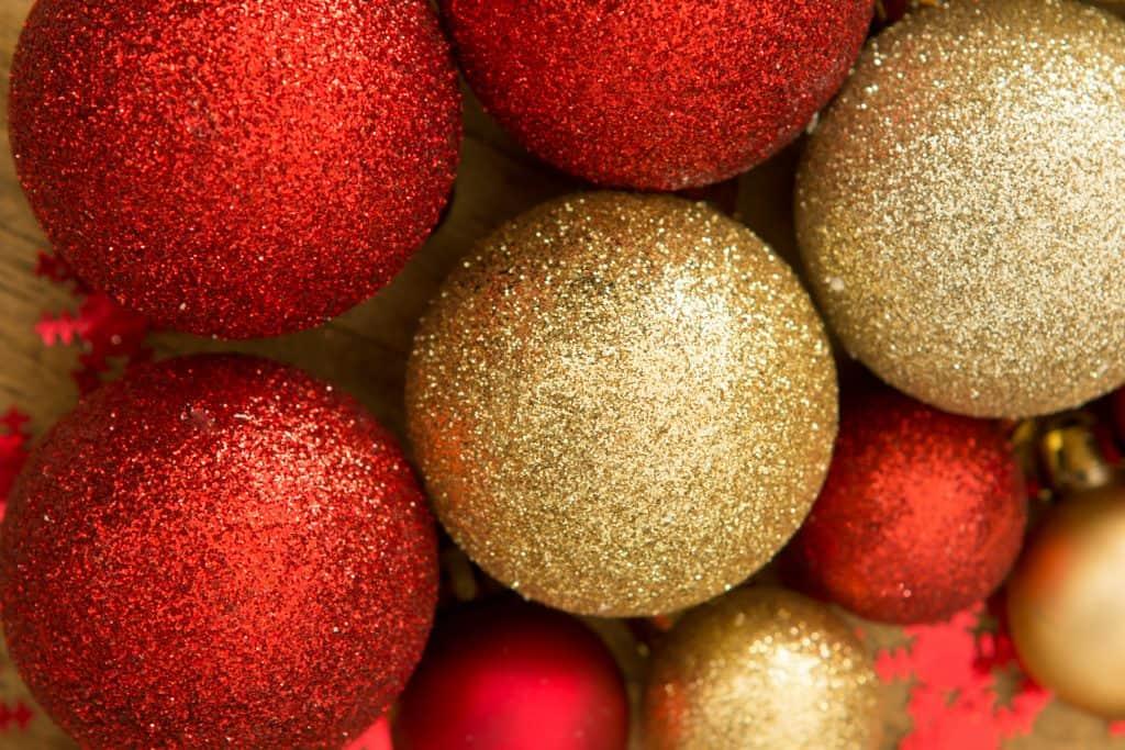 Christmas glitter balls ornaments