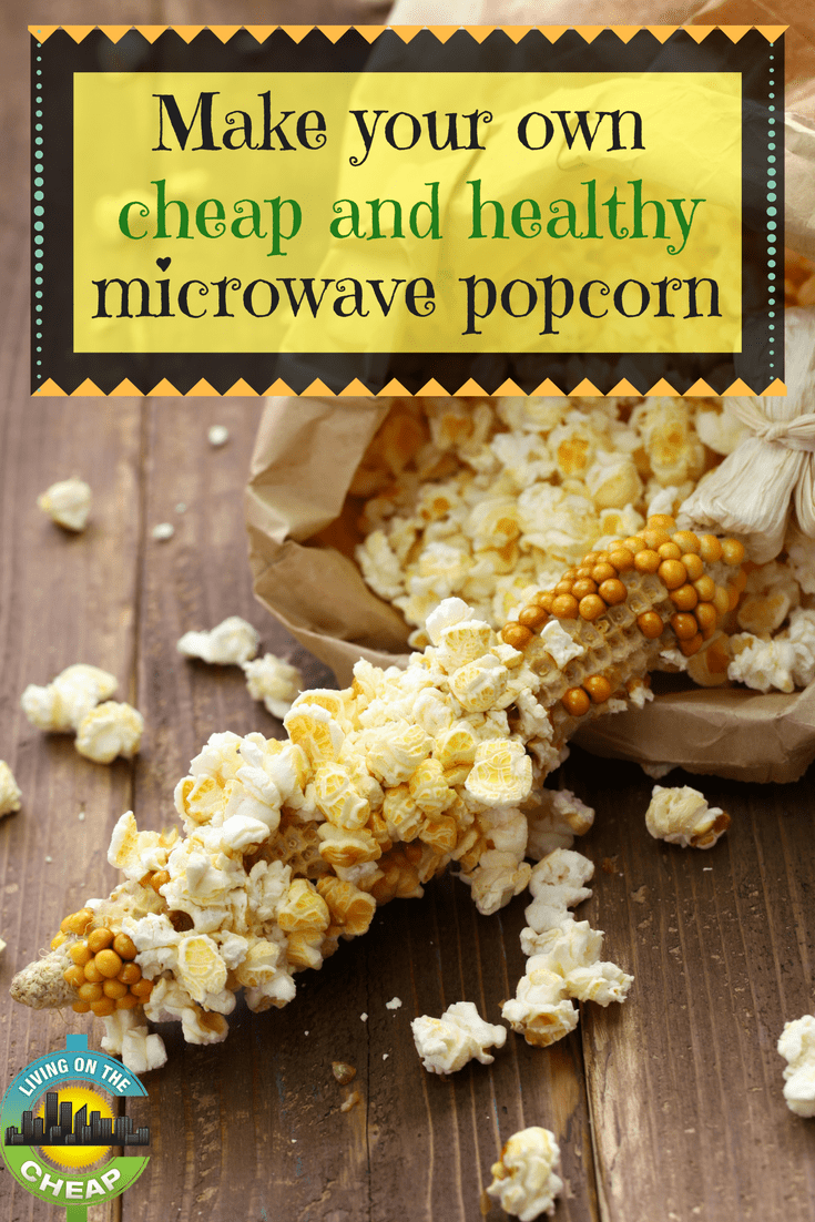 "Popcorn makes a great snack, find out how to make your own cheap and healthy microwave popcorn! This ""secret"" to healthy microwave popcorn is so easy and obvious you have to wonder if the food industry hasn't conspired to keep the public ignorant all these years. Once you try it, you'll never buy popcorn in those little folded bags again. #popcorn #recipe #homemadepopcorn #cheapfood #snackfood"