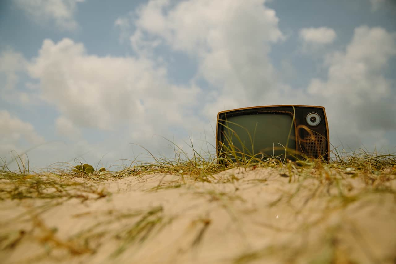 television in a field