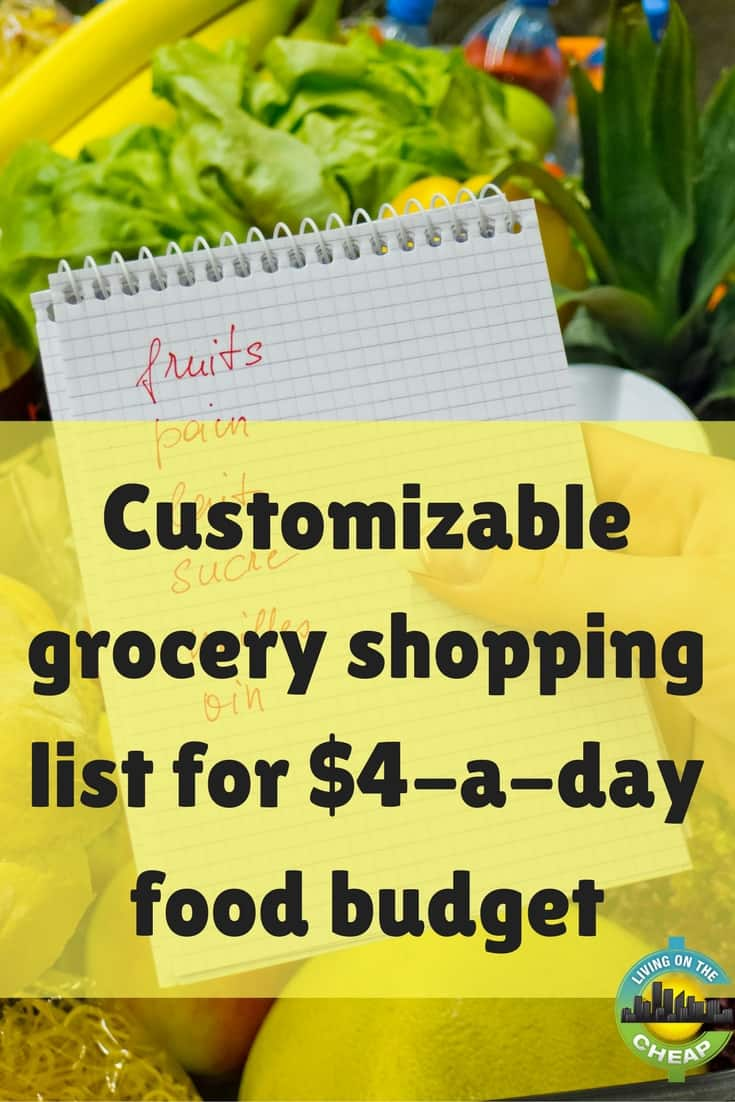 "Earlier this year, I decided to try the $4 a day food budget. Considering my grocery bill averaged close to $12 per day, this was a drastic reduction. The grocery list below itemizes the amounts to buy per week to feed an ""average"" person."