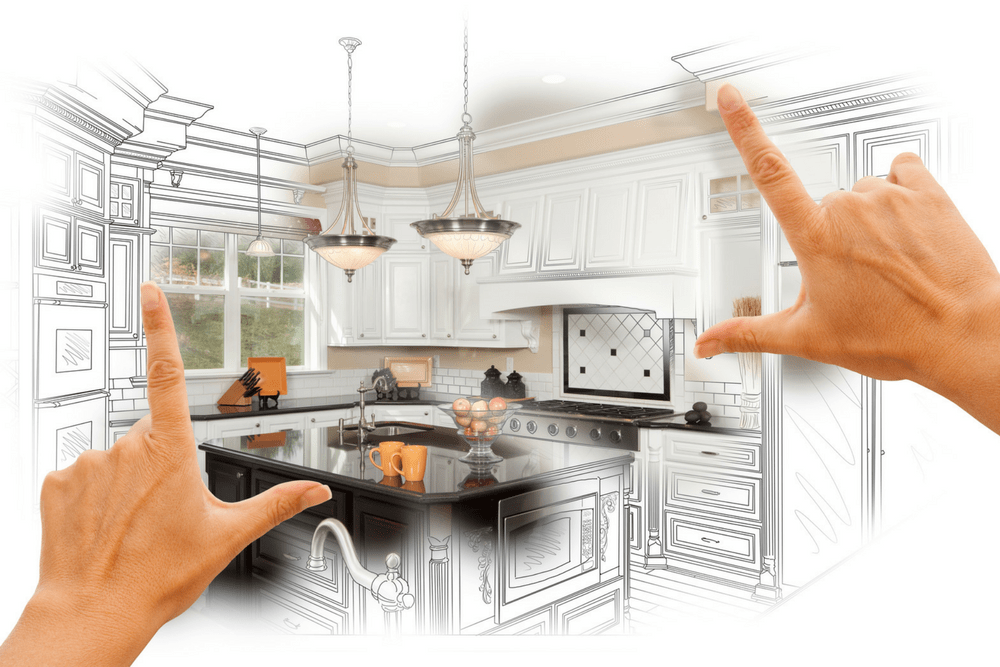 hands framing a kitchen remodel idea