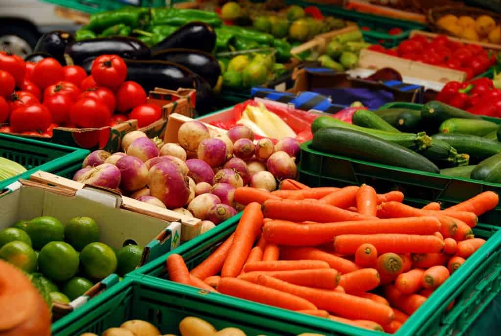 fresh produce in baskets