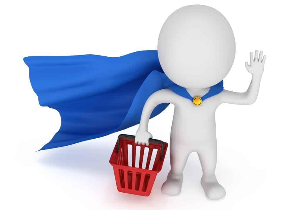 Brave superhero shopper with blue cloak
