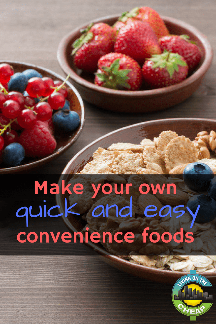 While many convenience foods help you get a healthy meal on the table, many more are full of sodium, sugar and other ingredients you may not want your family eating on a regular basis. In addition, that convenience comes at a price. Typically, processed foods have a higher price tag than do the individual ingredients used to make them. Think about what convenience foods you use the most and how you can save money buy making them yourself. Here are a few ideas to get you started.