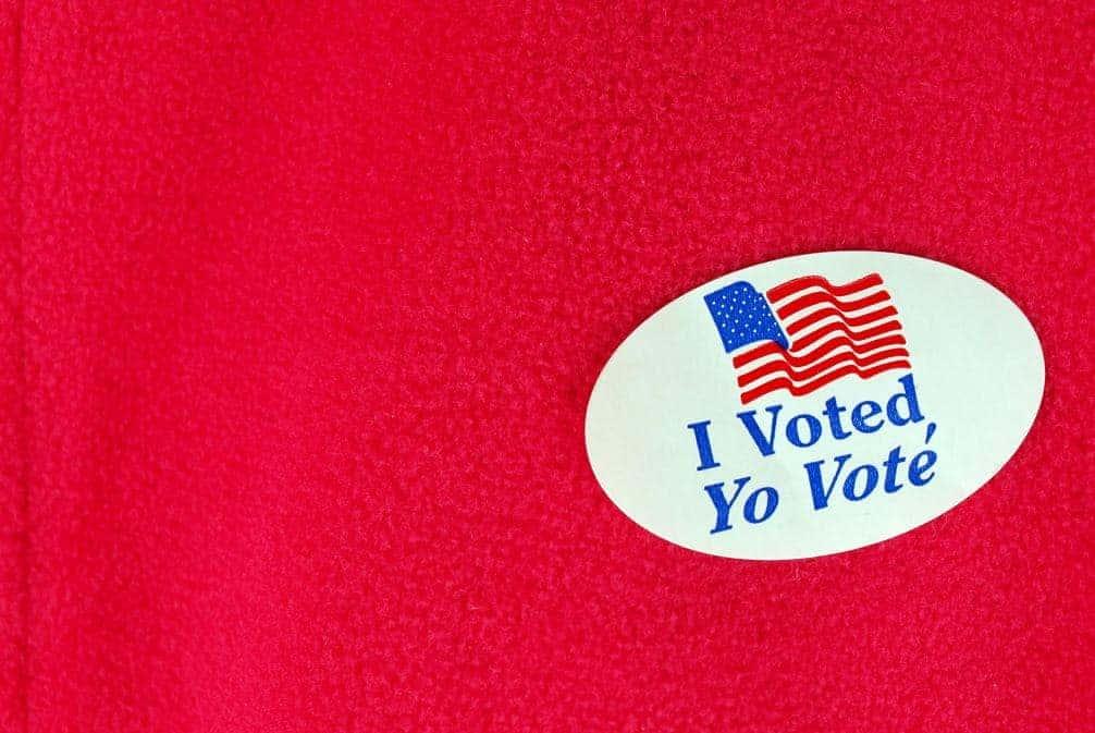 I voted sticker on red background