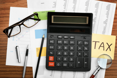 calculator with tax documents