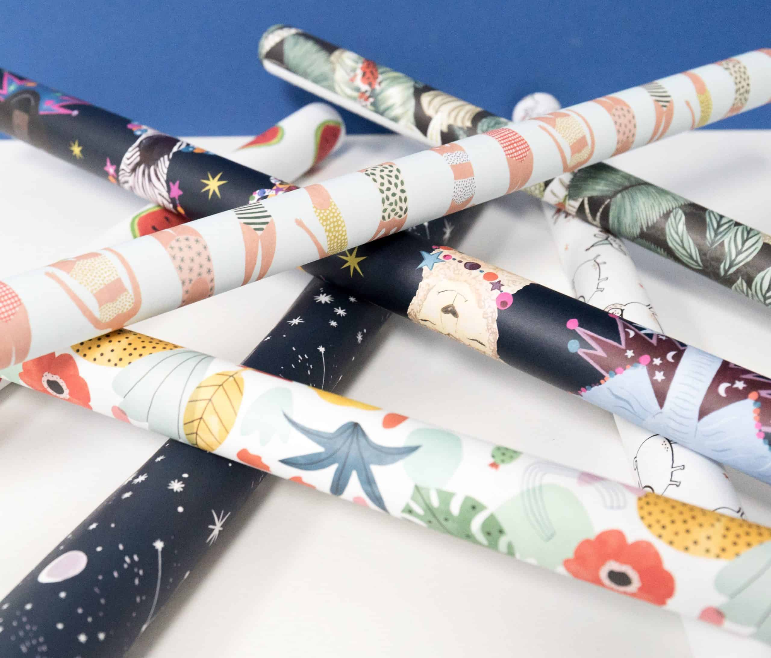 Organize a gift closet - Pile of wrapping paper rolls