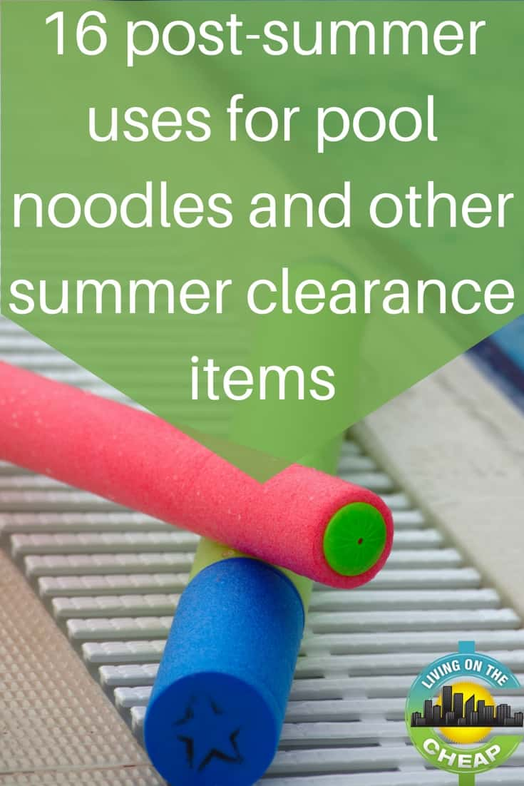 The bargainista part of me just loves all those end-of-season sales, but consider re-purposing items for a real bargain. Here are 16 post summer uses for pool noodles. #poolnoodles #summer #moneysavingtips #savemoney #savemoneytips