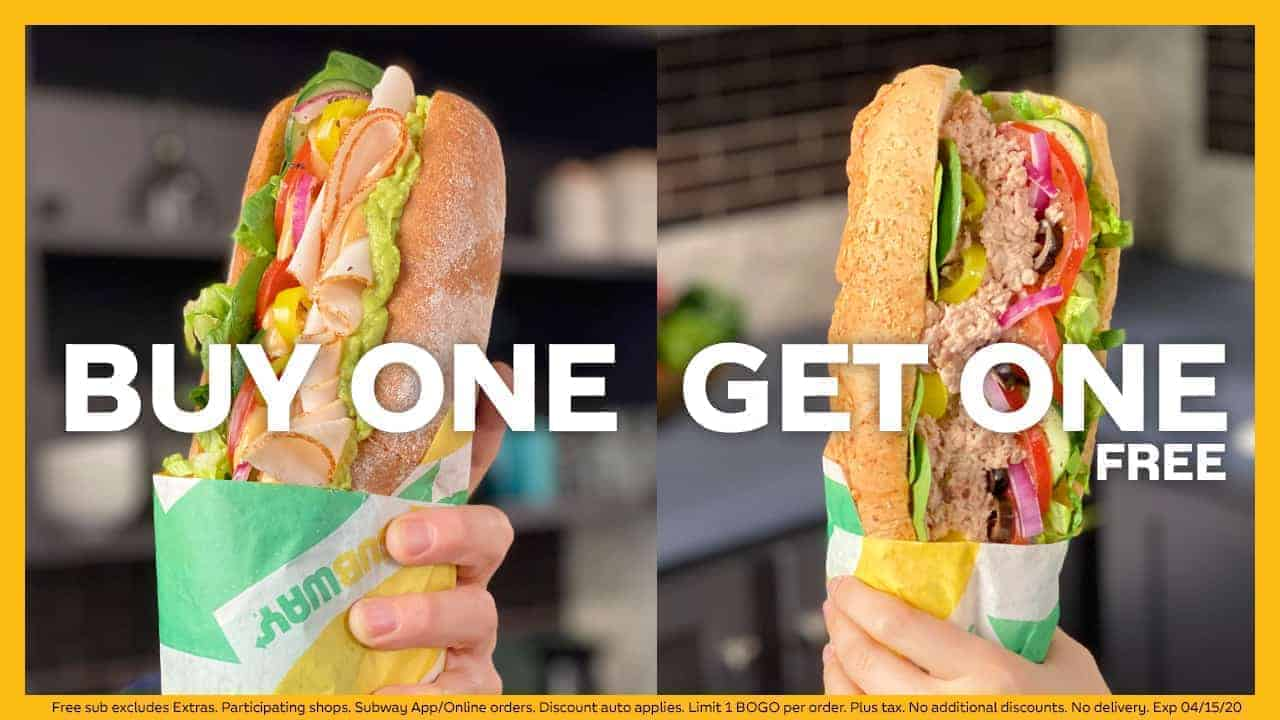 Buy-one-get-one FREE footlongs and 'Sub of the Day' Deals at Subway