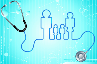 stethoscope cord creating image of family