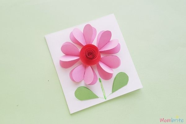 Mother's Day gift crafts for kids - 3D heart flower card