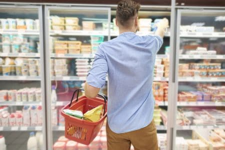 man shopping for frozen food