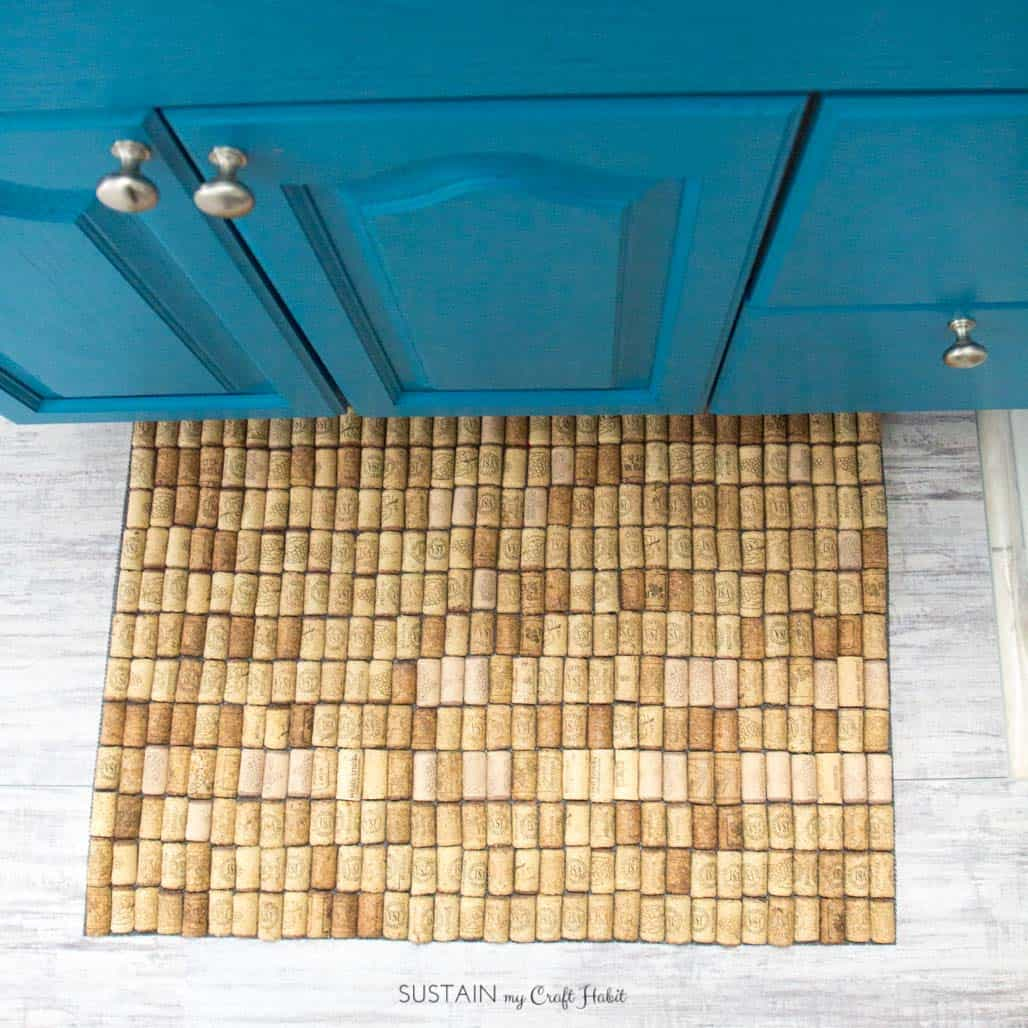 Redecorate with items you own - Photo ofwine cork bath mat