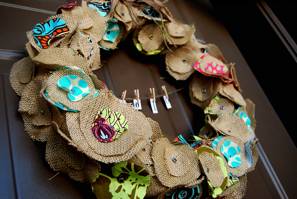 Redecorate with items you own - Photo of burlap and fabric wreath