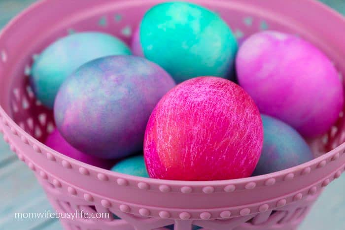 Easter egg decorating ideas - basket of colorful eggs