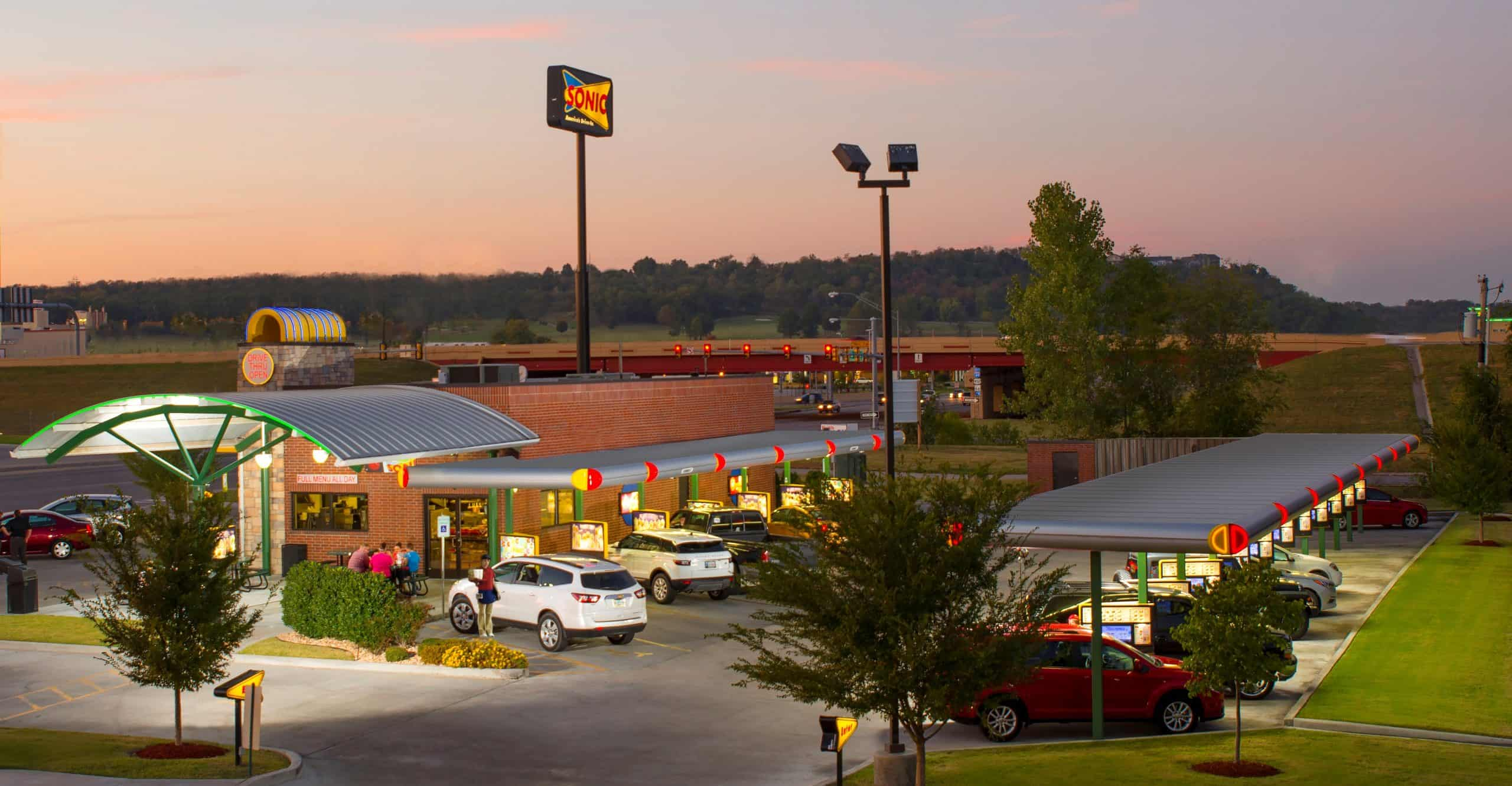 Best deals at Sonic - photo of Sonic Drive-In with rollerskating waitress and car bays