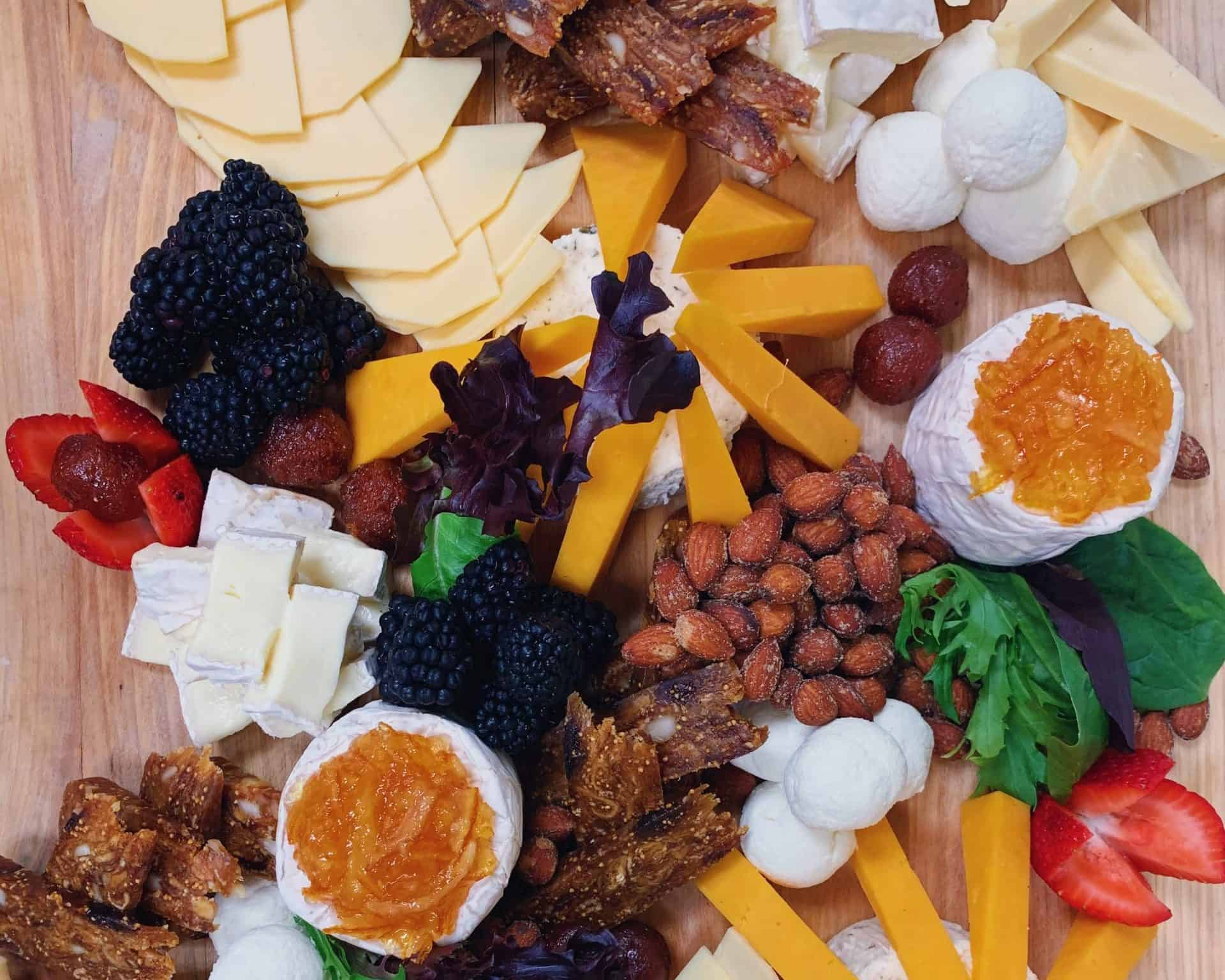Make your own snack pack - platter of cheese, fruit, meat and nuts
