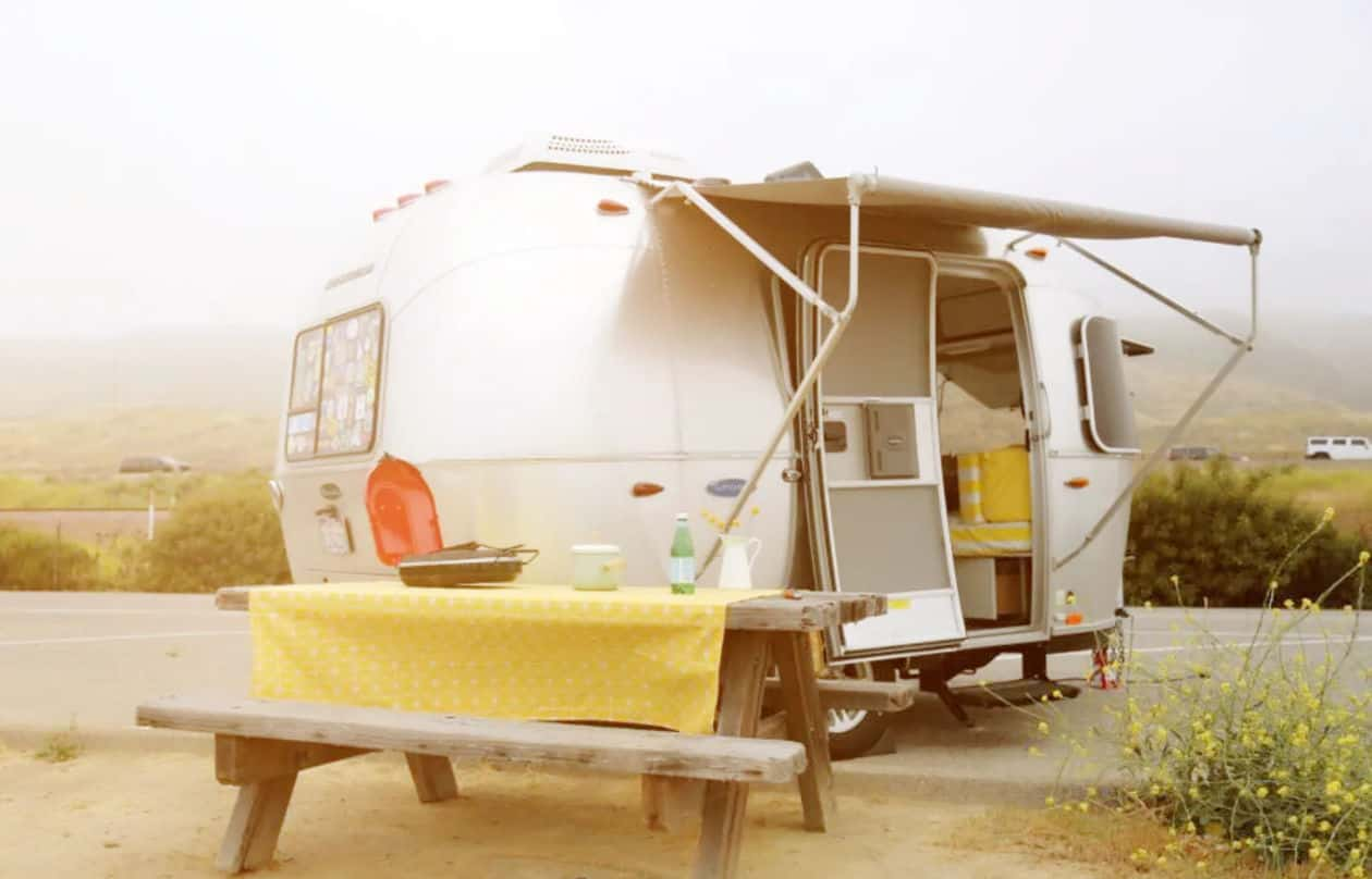 Airstream RV rental with picnic table