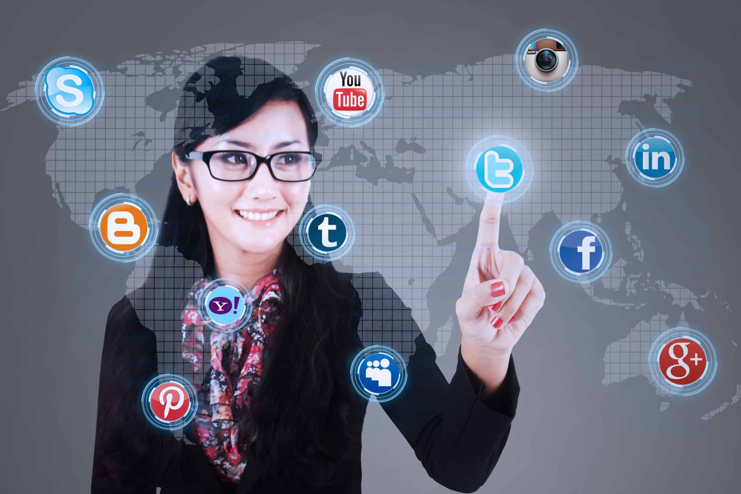Save money on social media - Smart woman pointing to social media icons