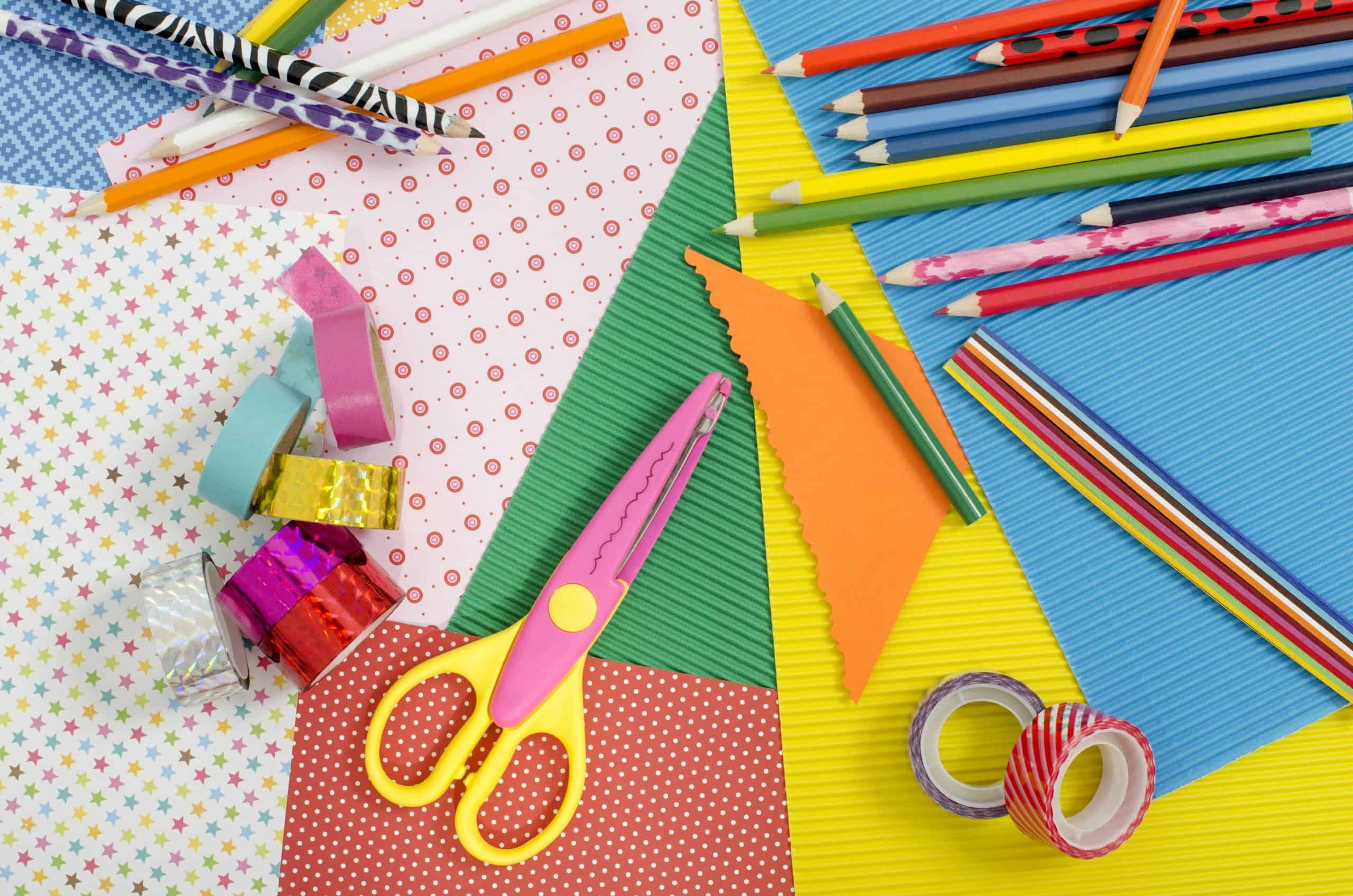 Kid and adult easy craft ideas - Color paper, pencils, different washi tapes, craft scissors.