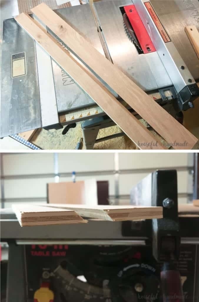 angled boards on table saw to install pegboard using the French cleat method