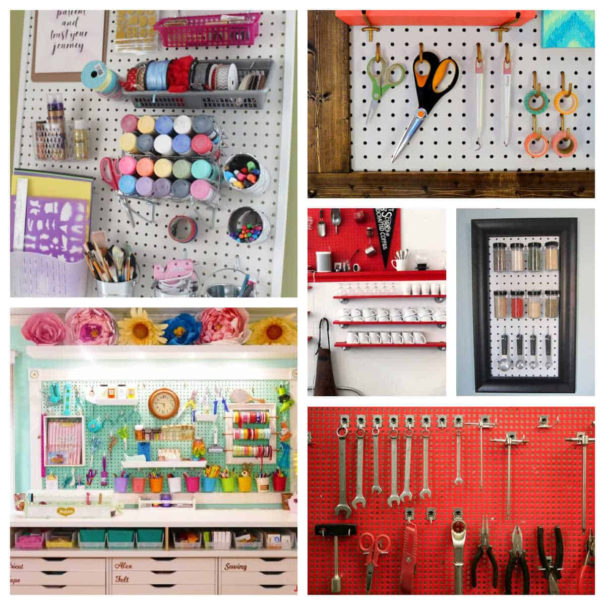 different pegboard ideas in an image collage