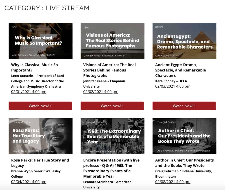 screenshot of One Day University streaming videos