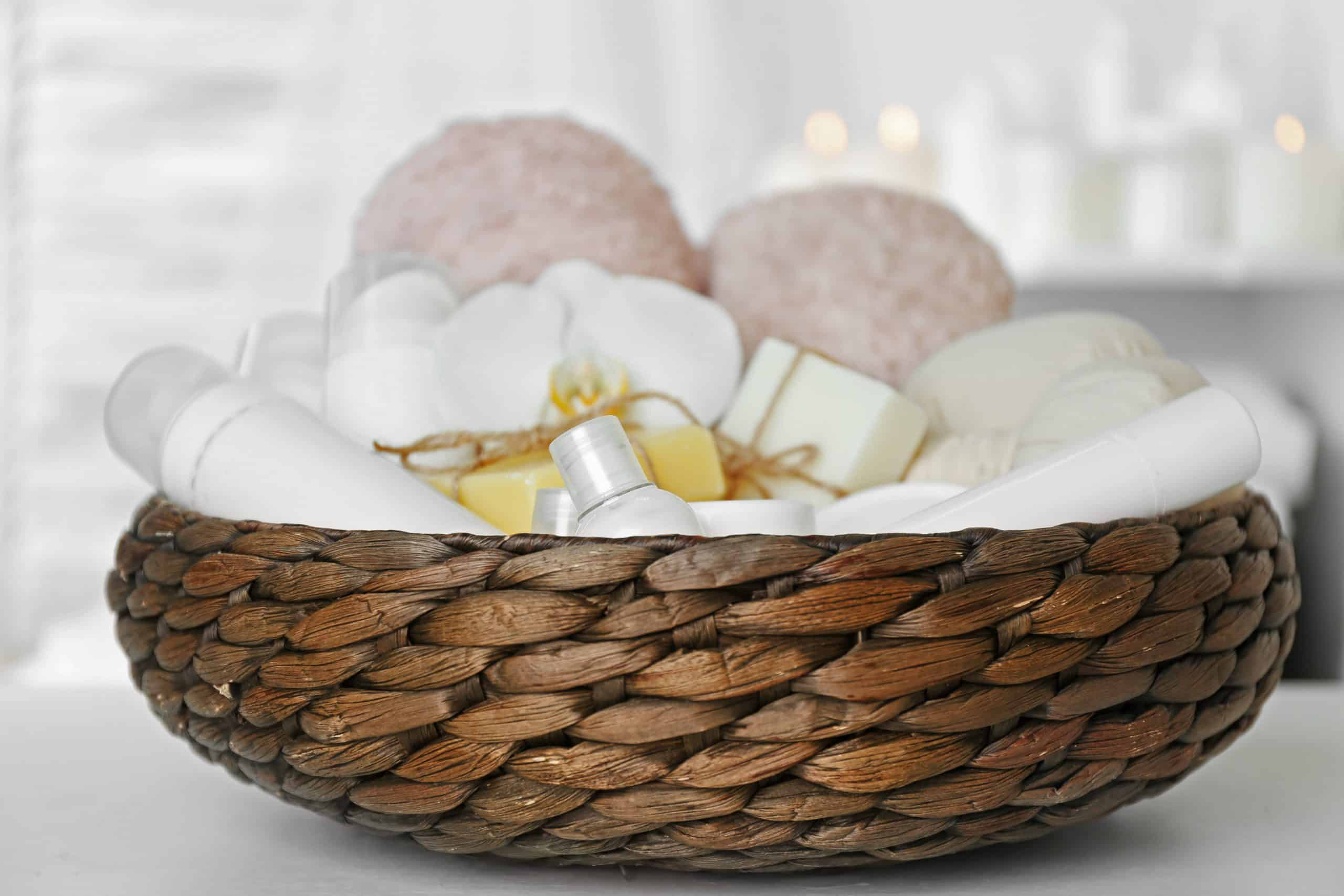 DIY spa day gift basket: Wicker basket with white spa products