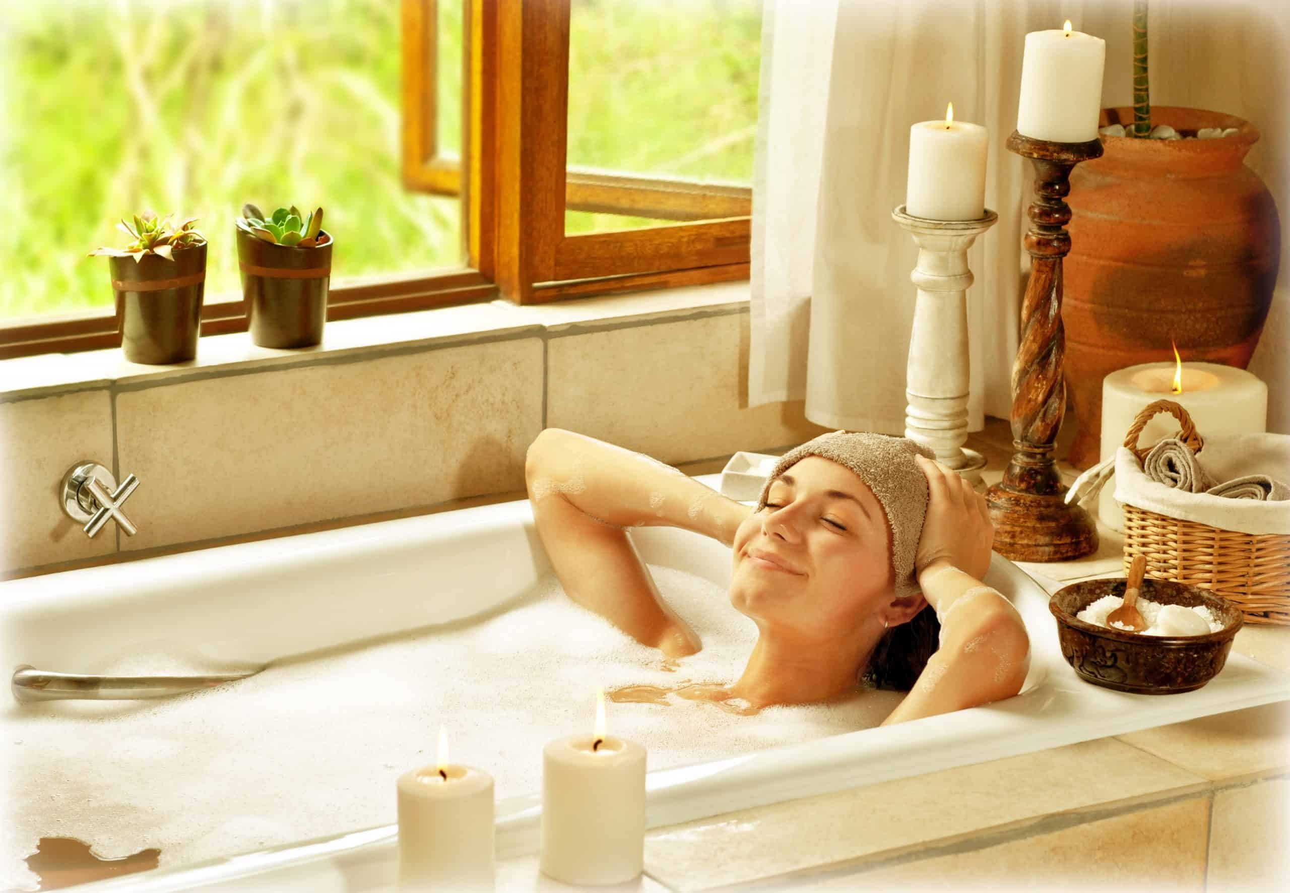 DIY spa gift basket - woman relaxing in bath tub