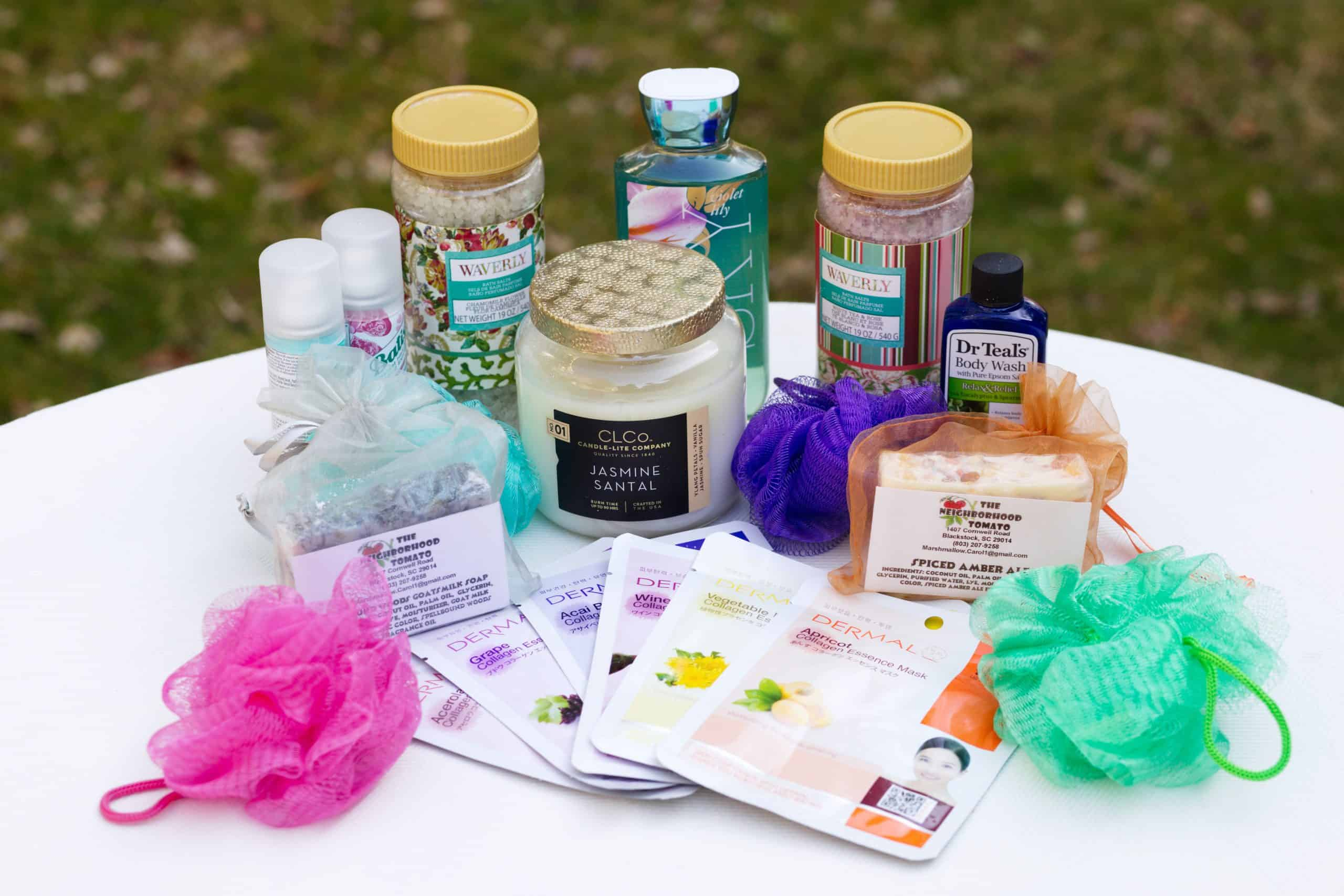 Spa day gift basket: Items for bath basket