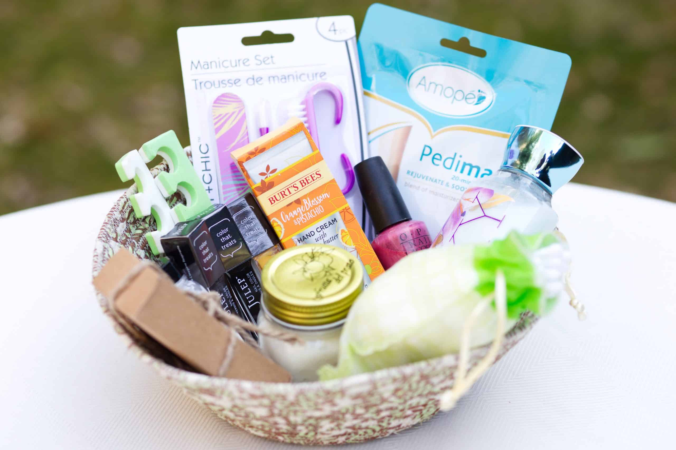 Homemade spa day gift basket - Basket filled with manicure pedicure items