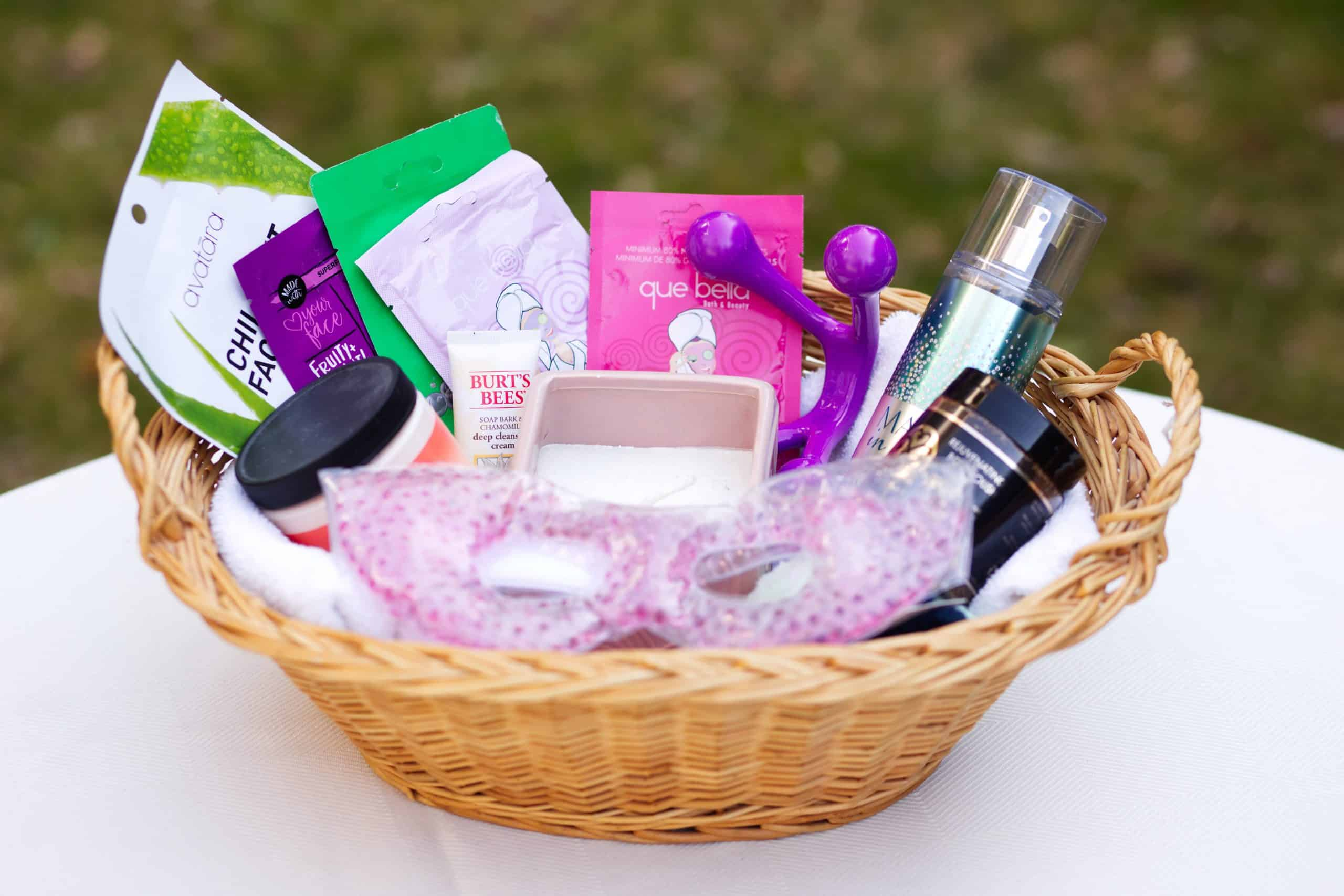 Spa day gift basket - basket full of at-home spa products
